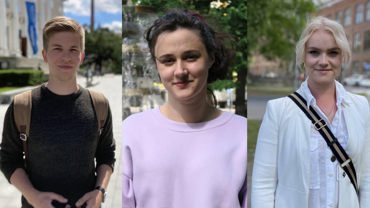 Nuoret valtuutetut Ida Leino, Brigita Krasniqi, Joakim Vegelius