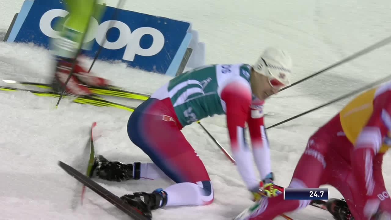 Bolshunov ja Krüger kolaroivat sprintissä