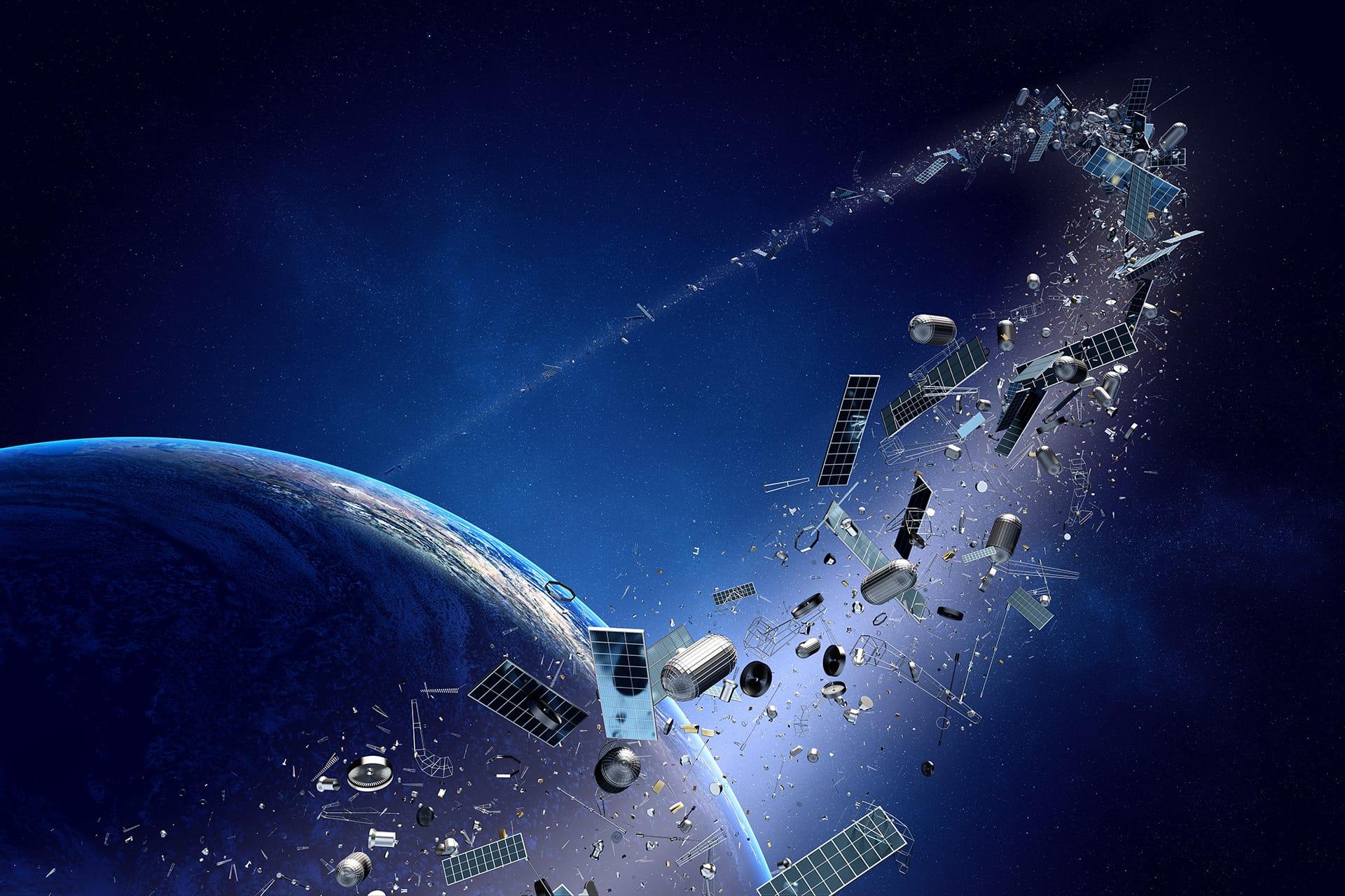 Kuvituskuva avaruusromusta.