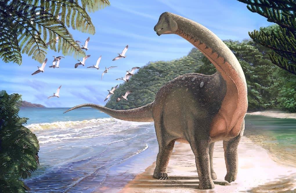 Piirroskuva pitkäkaulaisesta dinosauruksesta hiekkarannalla veden äärellä. Taivaalla parvi lentoliskoja.