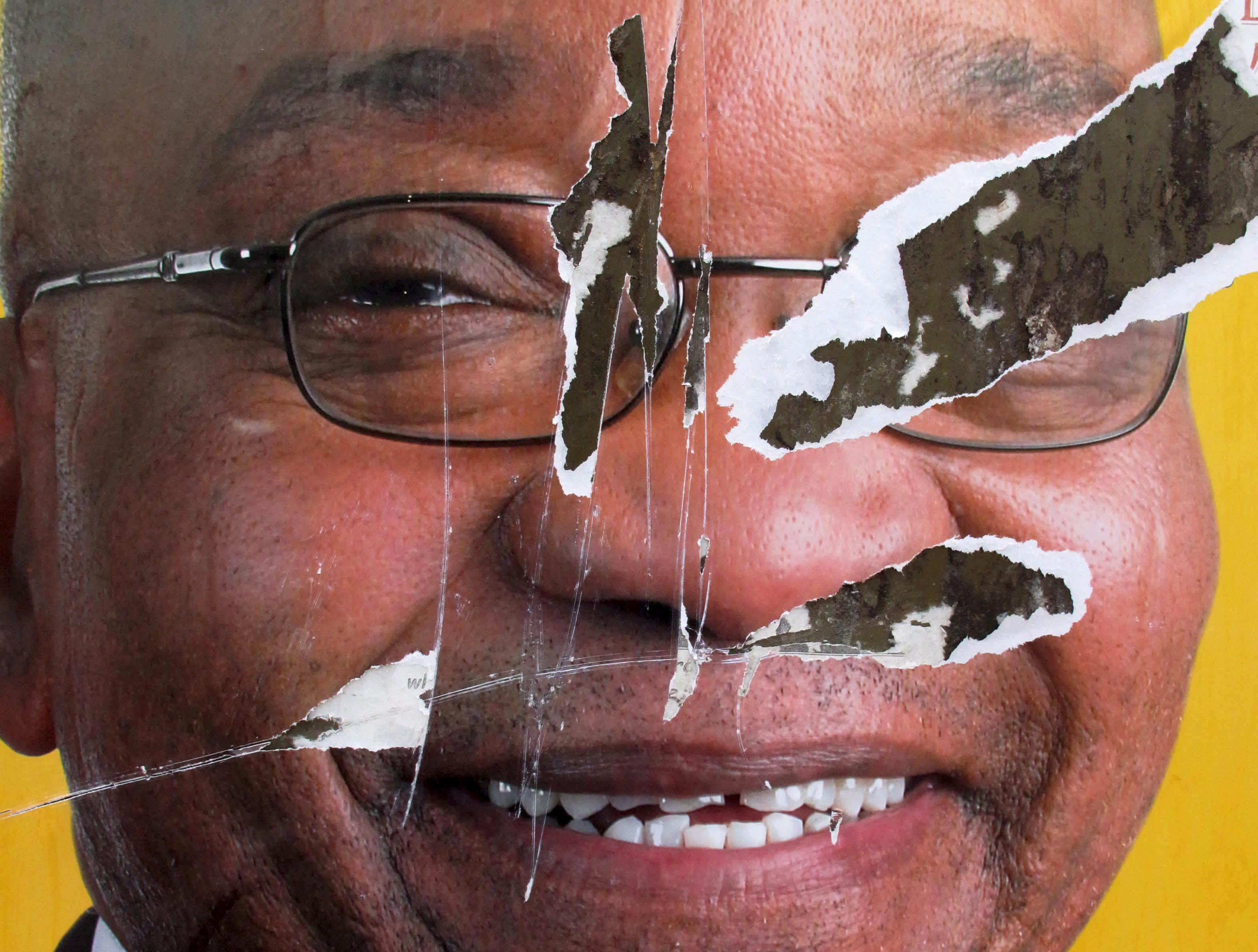 Presidentti Jacob Zuman revitty vaalimainos kertoo etelä-afrikkalaisten kyllästymisestä korruptioon maan johdossa.