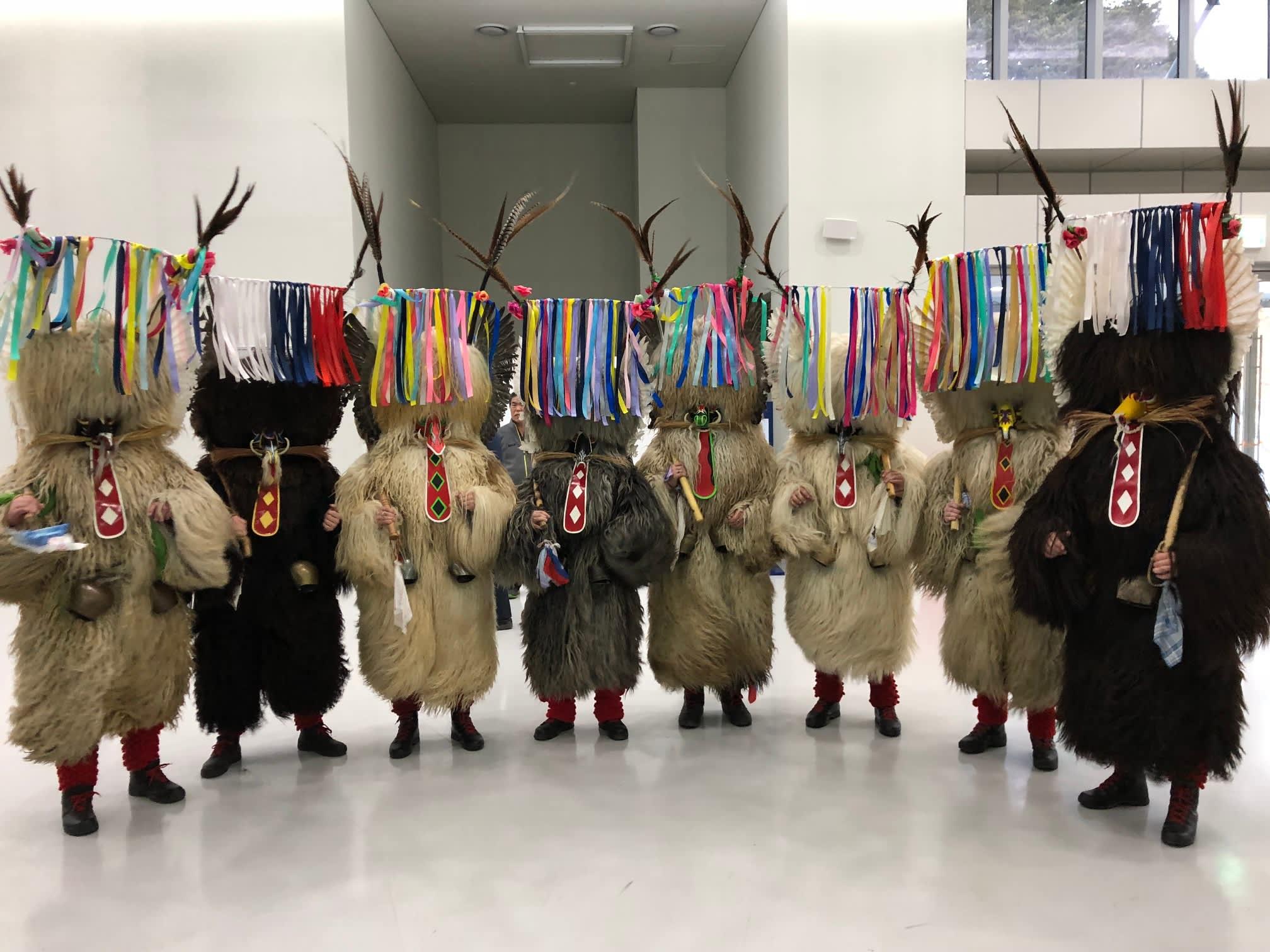 Slovenialainen faniryhmä karnevaalipukuihin sonnustautuneena Korean olympialaisten jäähallissa.