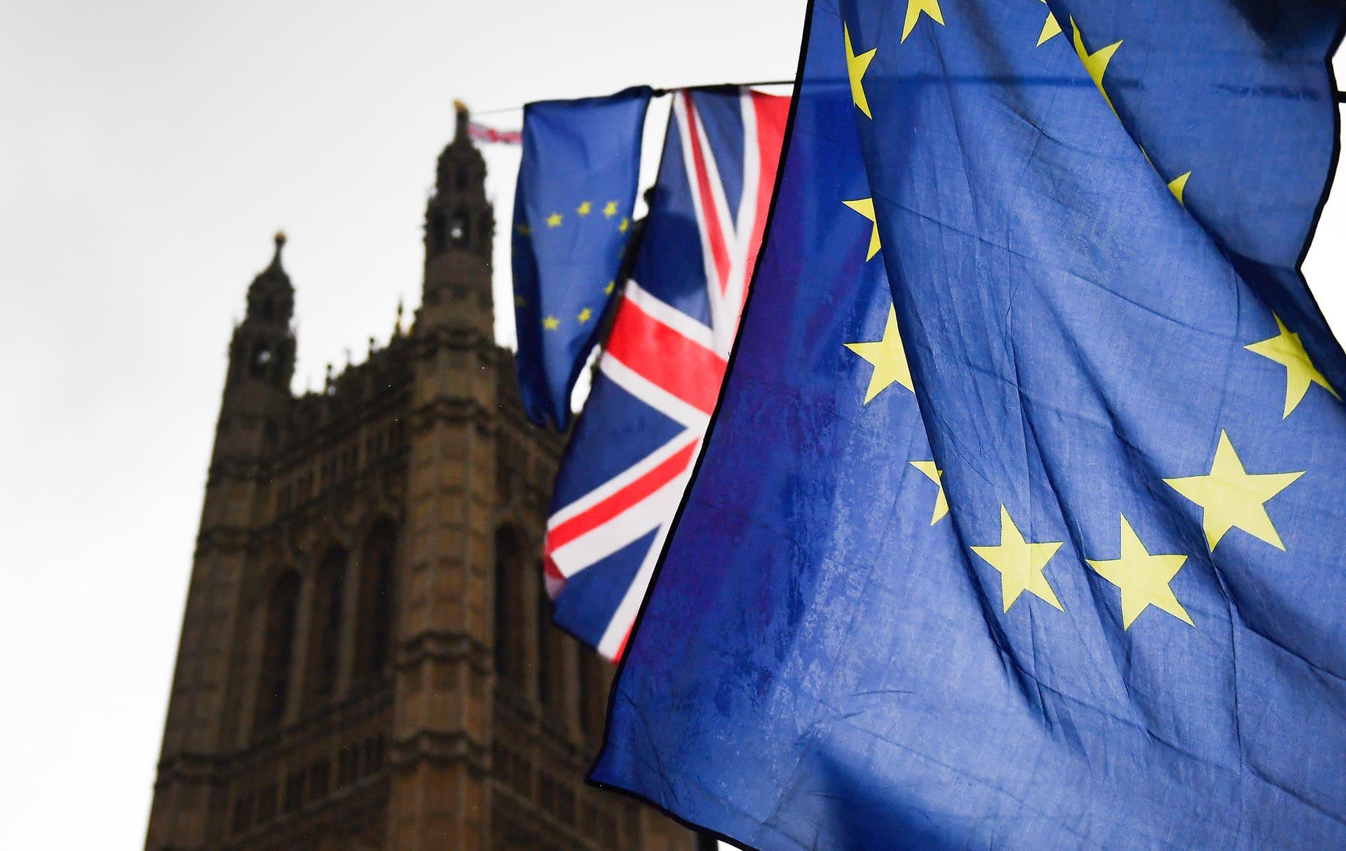 Brexitiä vastustavien liput liehuivat Britannian parlamenttitalon ulkopuolella marraskuussa 2018.