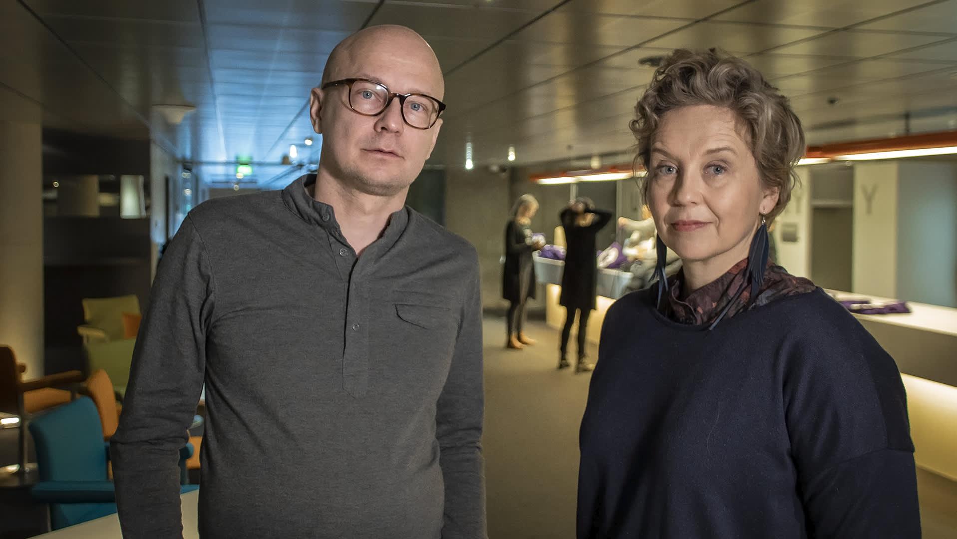 Ohjaaja Mika Ronkainen ja käsikirjottaja Merja Aakko.