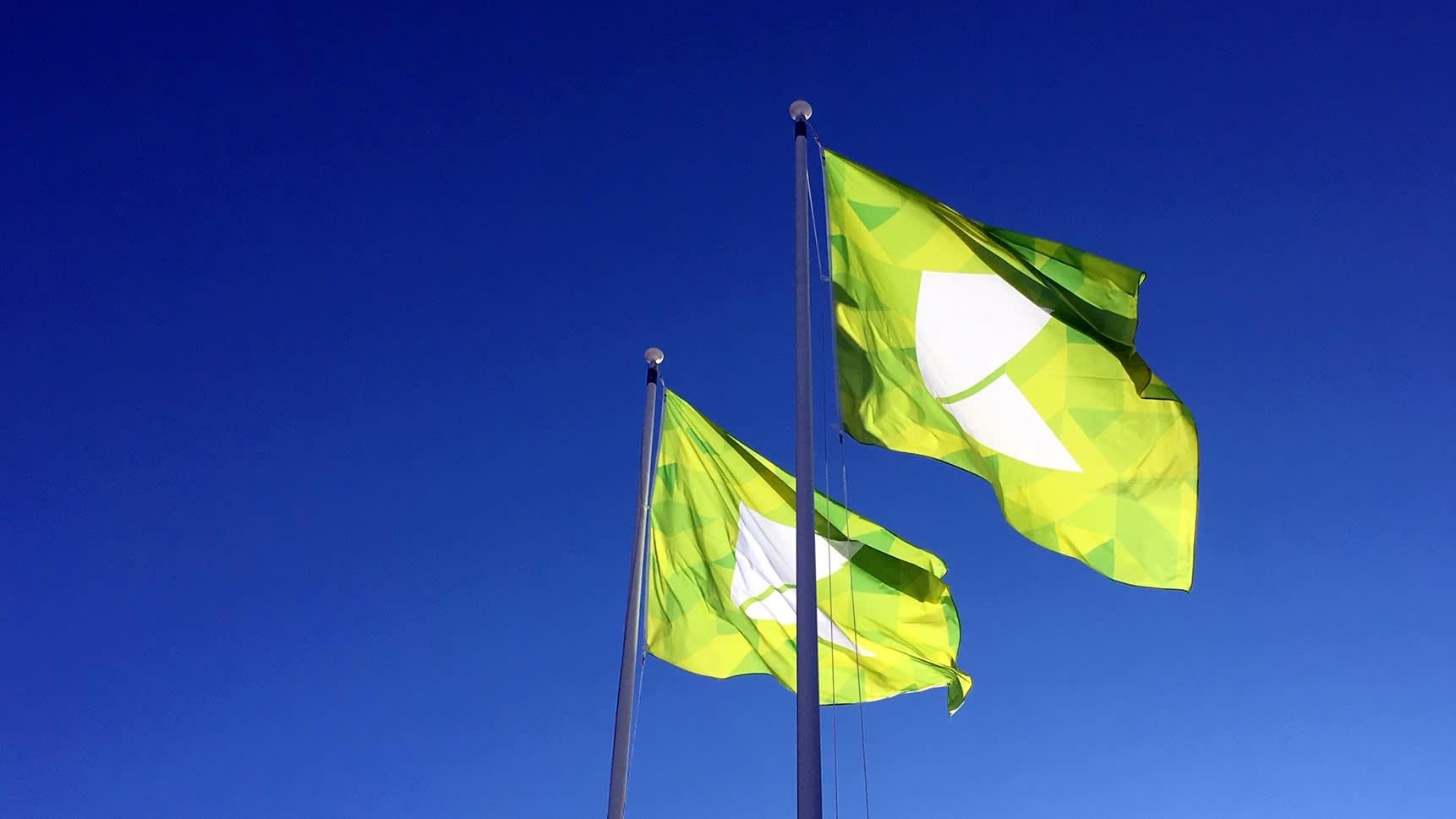 Karelia-ammattikorkeakoulun liput liehuvat sinistä taivasta vasten Joensuussa.