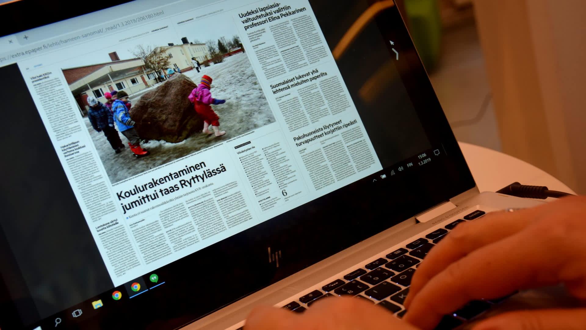 Hämeen Sanomat verkkolehtenä läppärin ruudulla