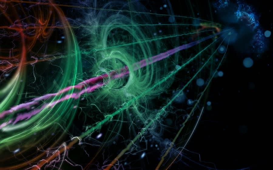 Piirros kvanttimekaanisesta värähtelijästä kytkettynä ympäristöönsä.