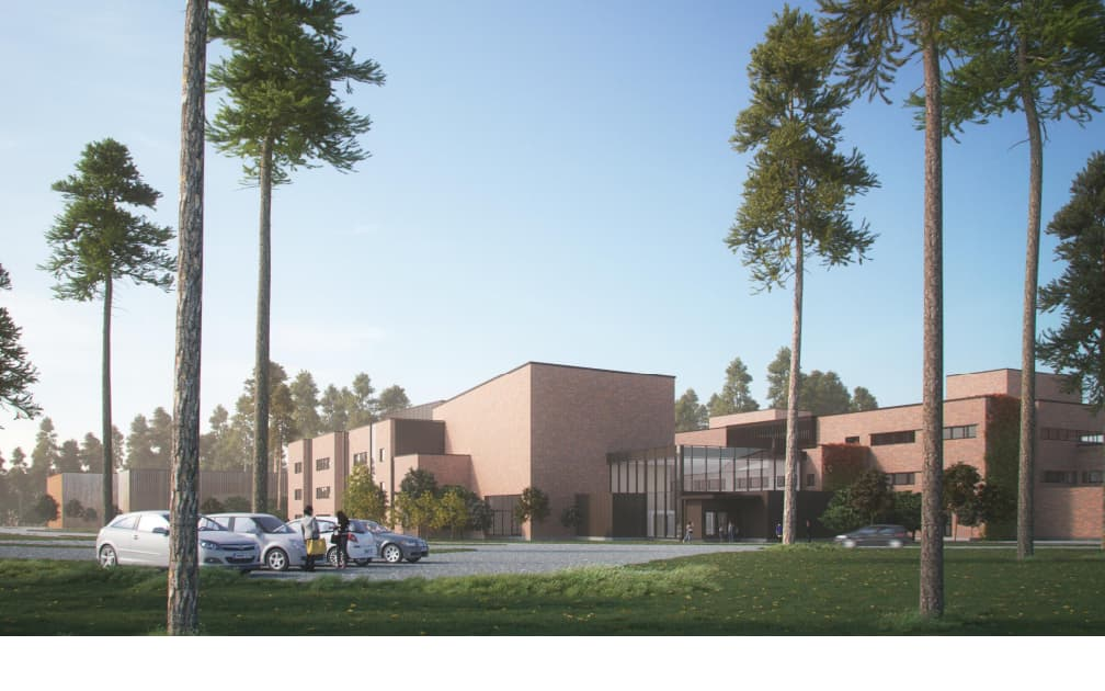 Havainnekuva Joensuun konservatorion uudesta rakennuksesta Carelia-salin kupeessa.