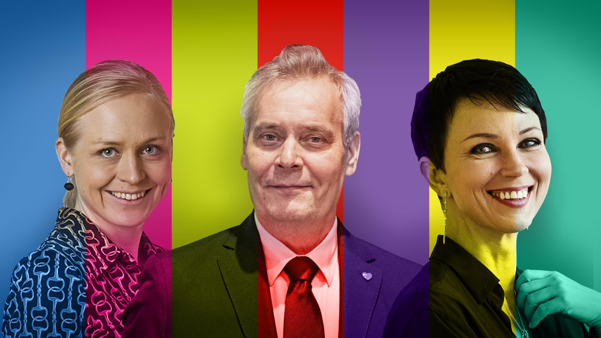 Kokoomuksen Elina Lepomäki, SDP:n Antti Rinne ja vihreiden Katariina Souri ovat ehdolla Uudenmaan vaalipiirissä.