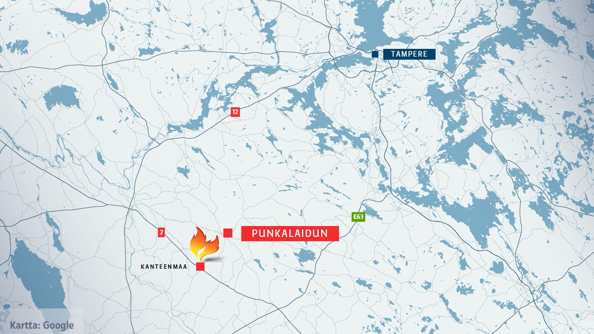 Punkalaitumella Kanteenmaalla on syttynyt maastopalo