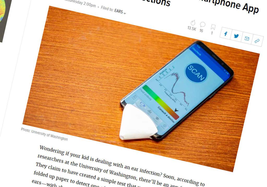Korvatulehduksia skannaava app -sovellus älypuhelimessa.