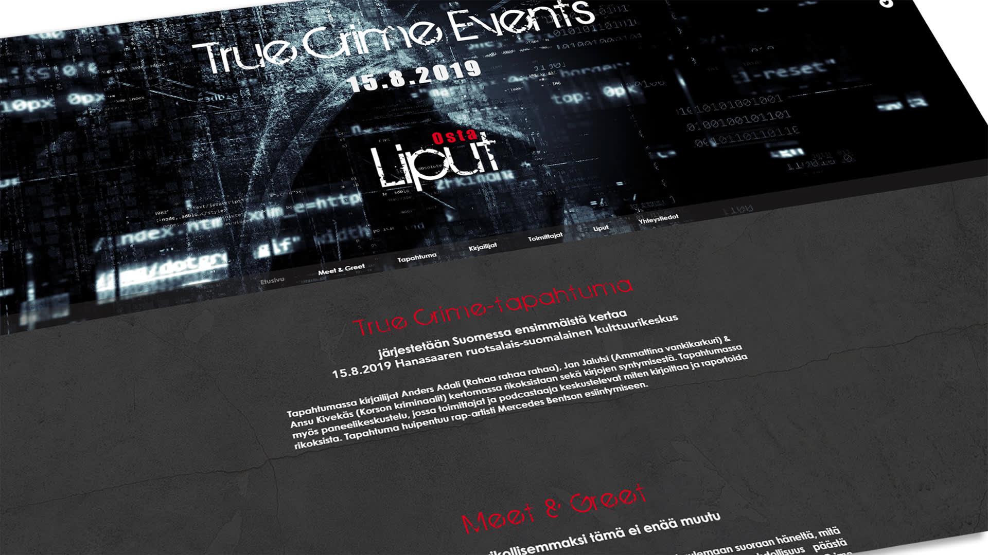 True Crime Events -tapahtuman nettisivu.
