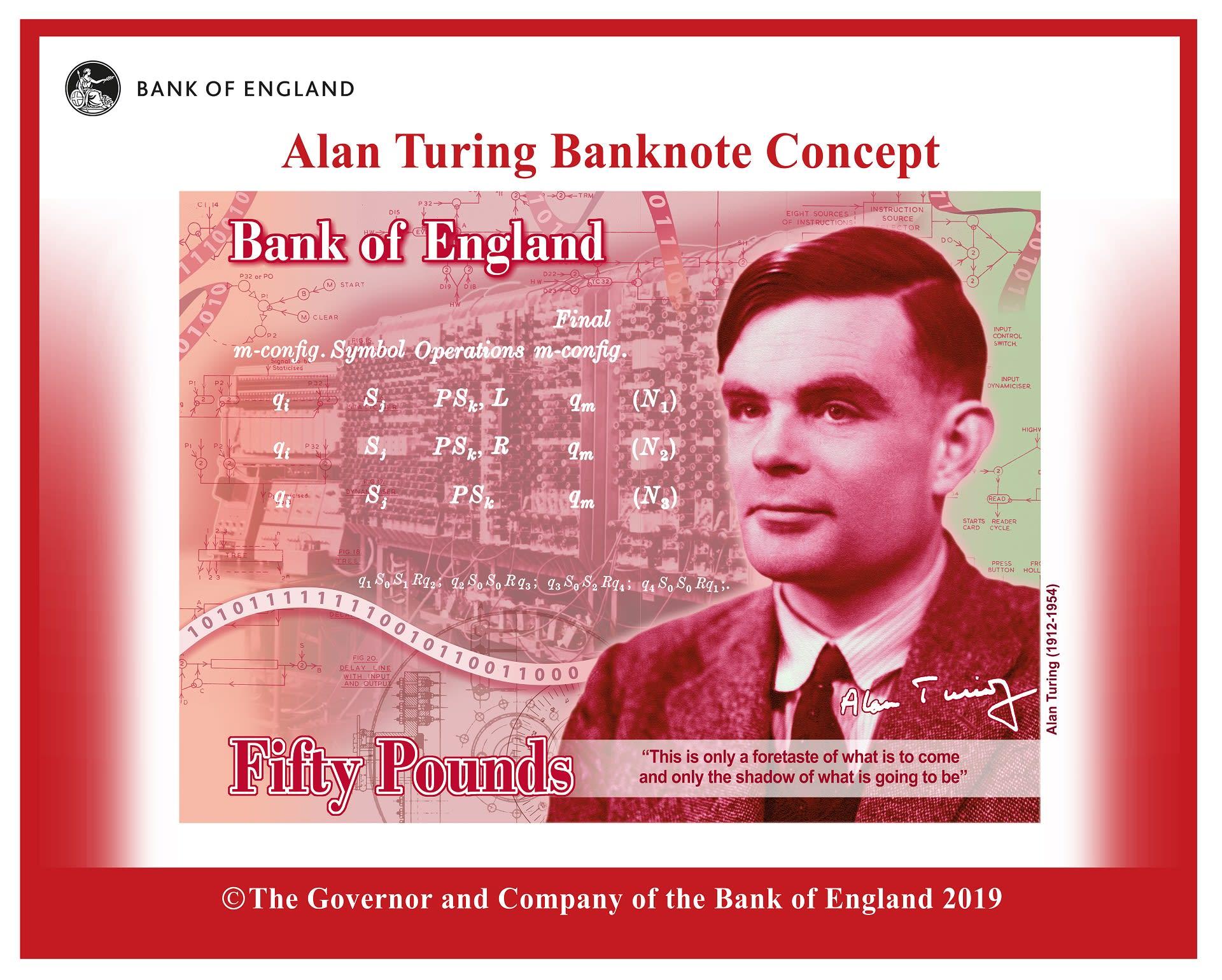 Seteli, jossa Alan Turingin kuva.