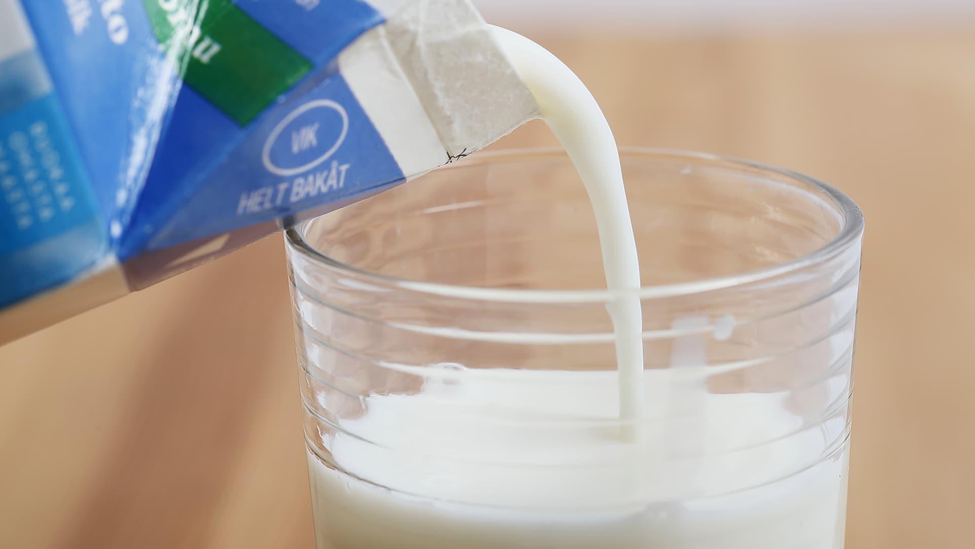 Maitoa kaadetaan lasiin.