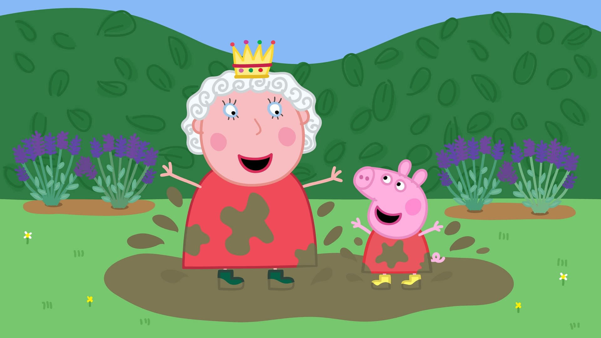 Piirretty kuningatar ja Pipsa Possu.