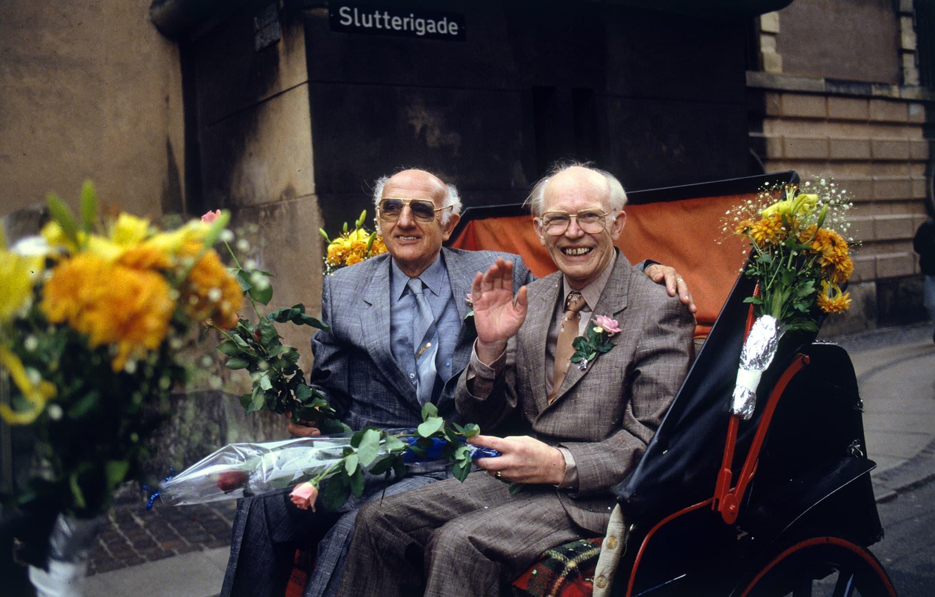 Axel Axgil ja Eigil Eskildsen kuvattuna 1. lokakuuta 1989.