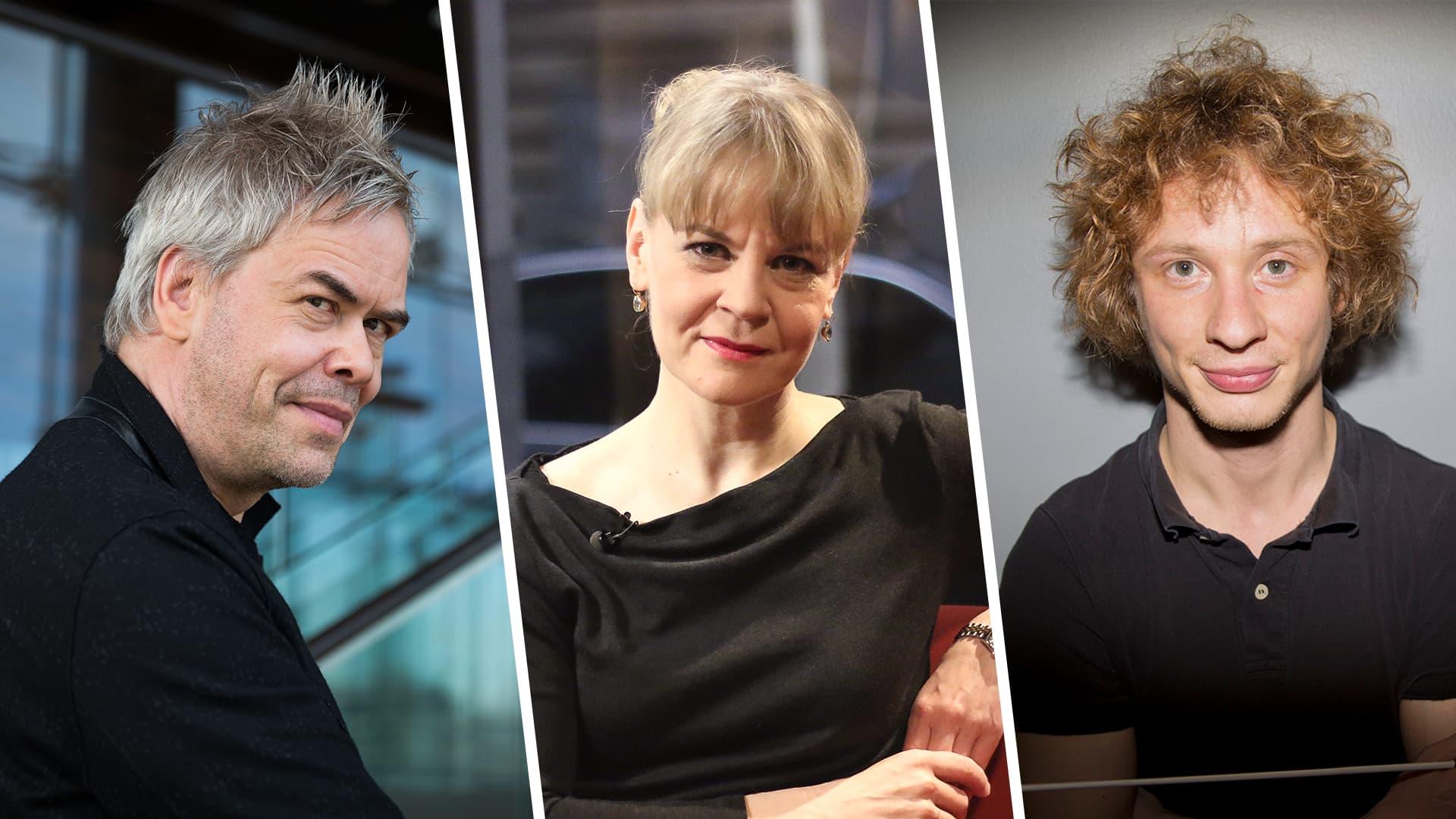 Hannu Lintu, Susanna Mälkki ja Santtu-Matias Rouvali.
