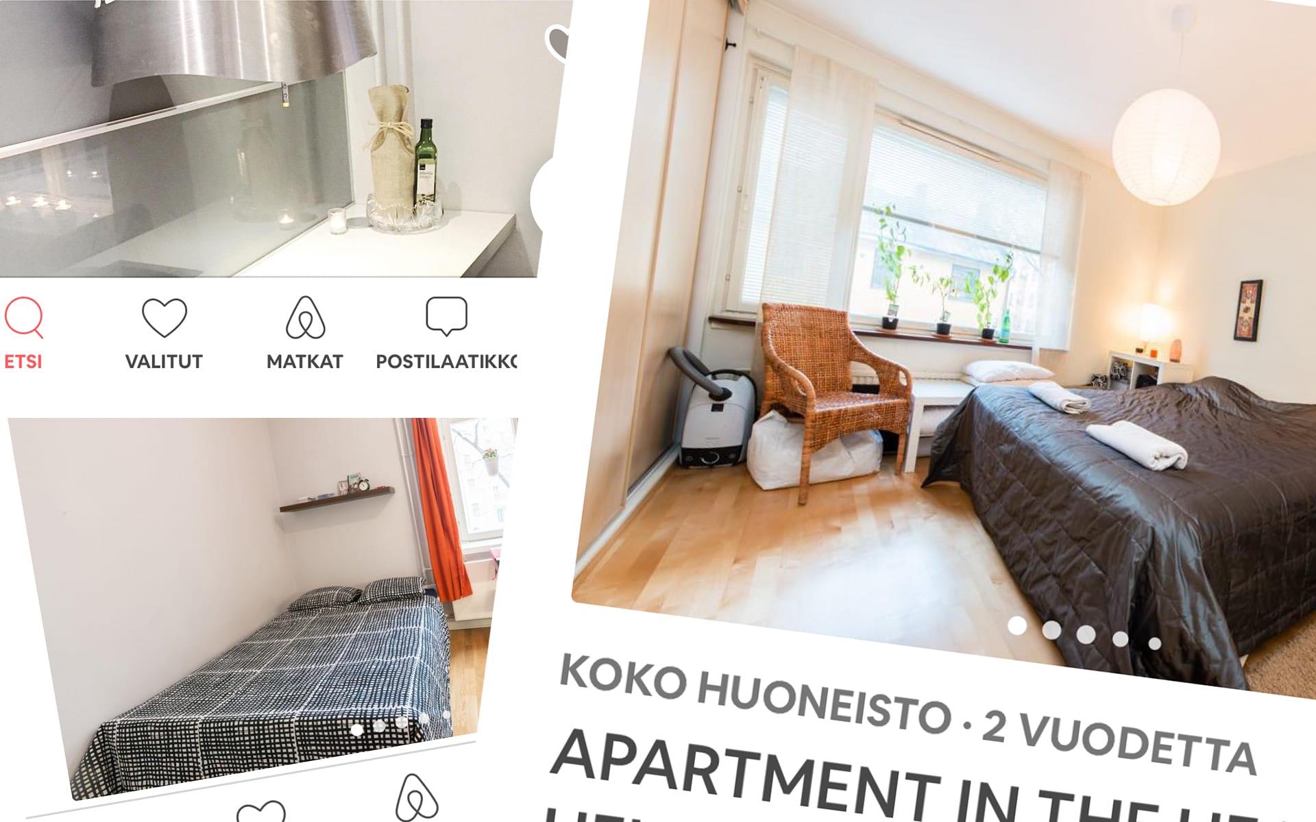 Kuvakaappauksia Airbnb:ssä olevista ilmoituksista.