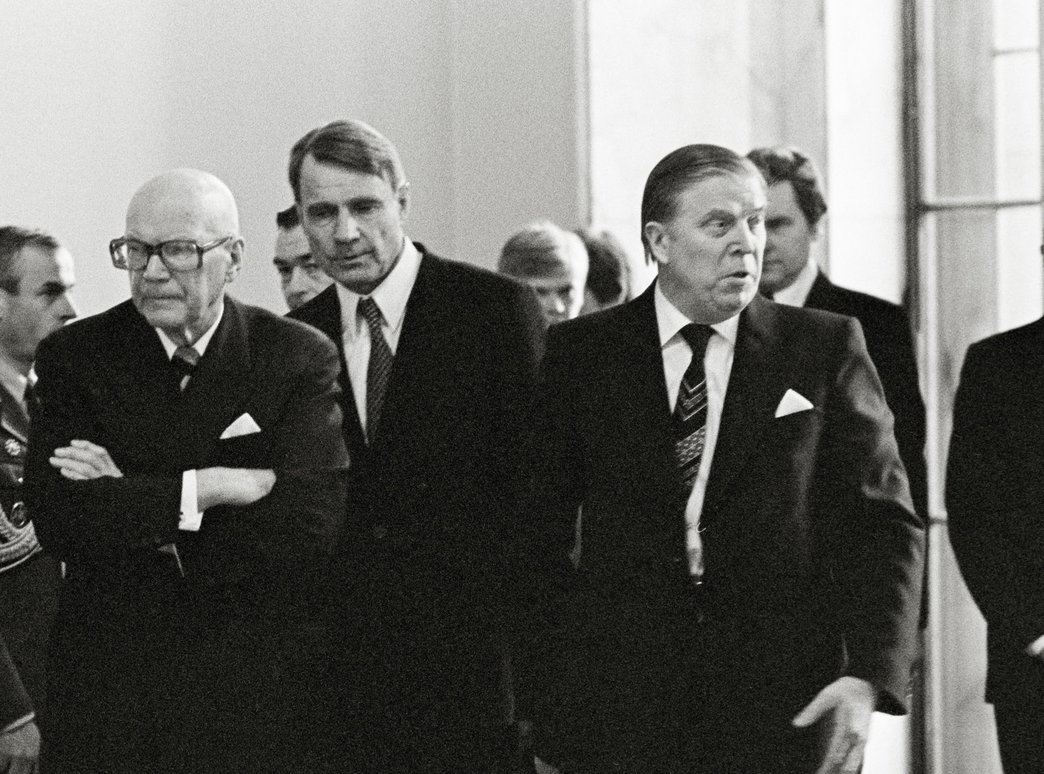 Kekkonen, Koivisto ja Kekkosen seuraajaksi kaavailtu Ahti Karjalainen.
