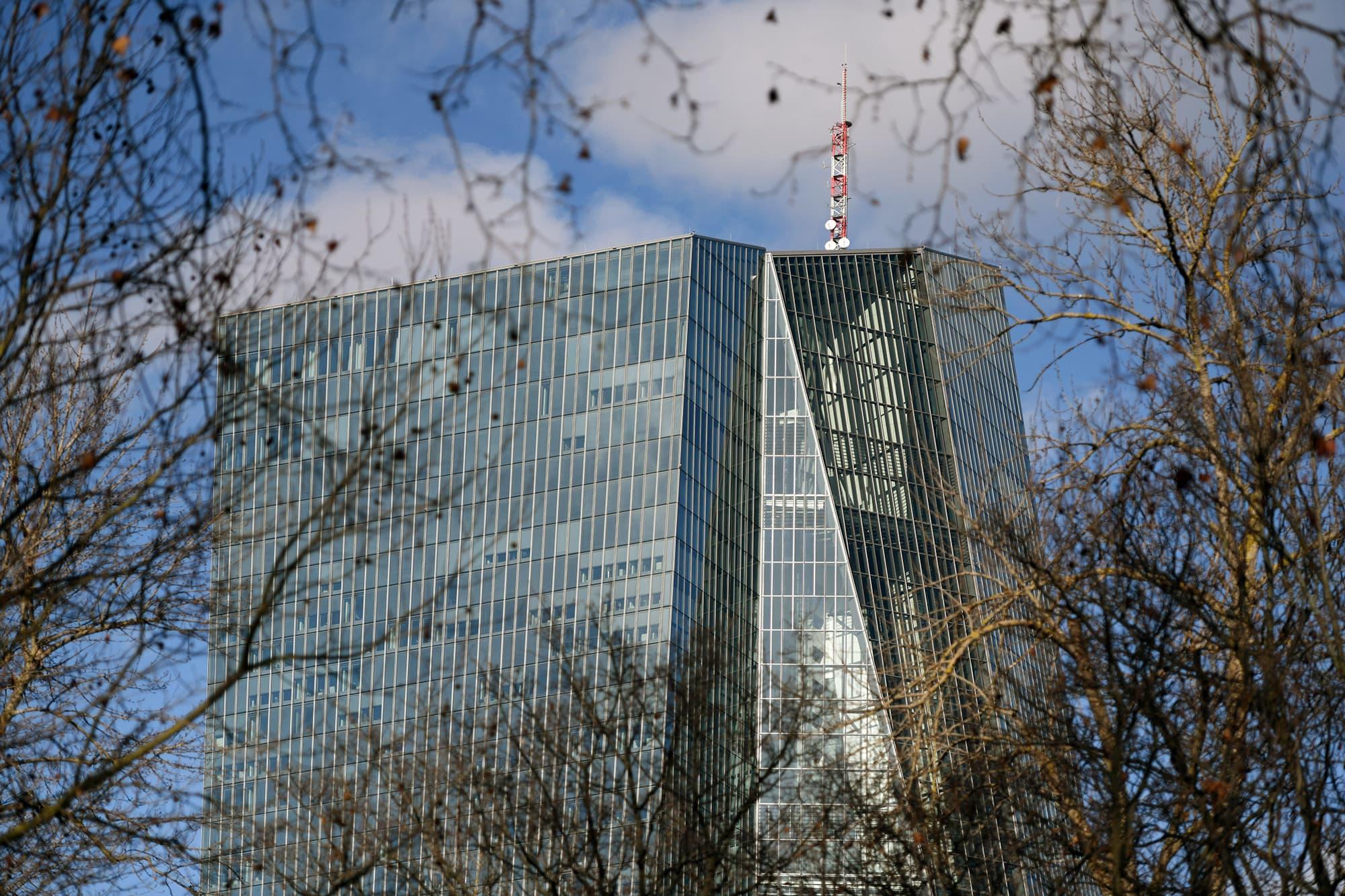 Euroopan keskuspankin rakennus Frankfurtissa.