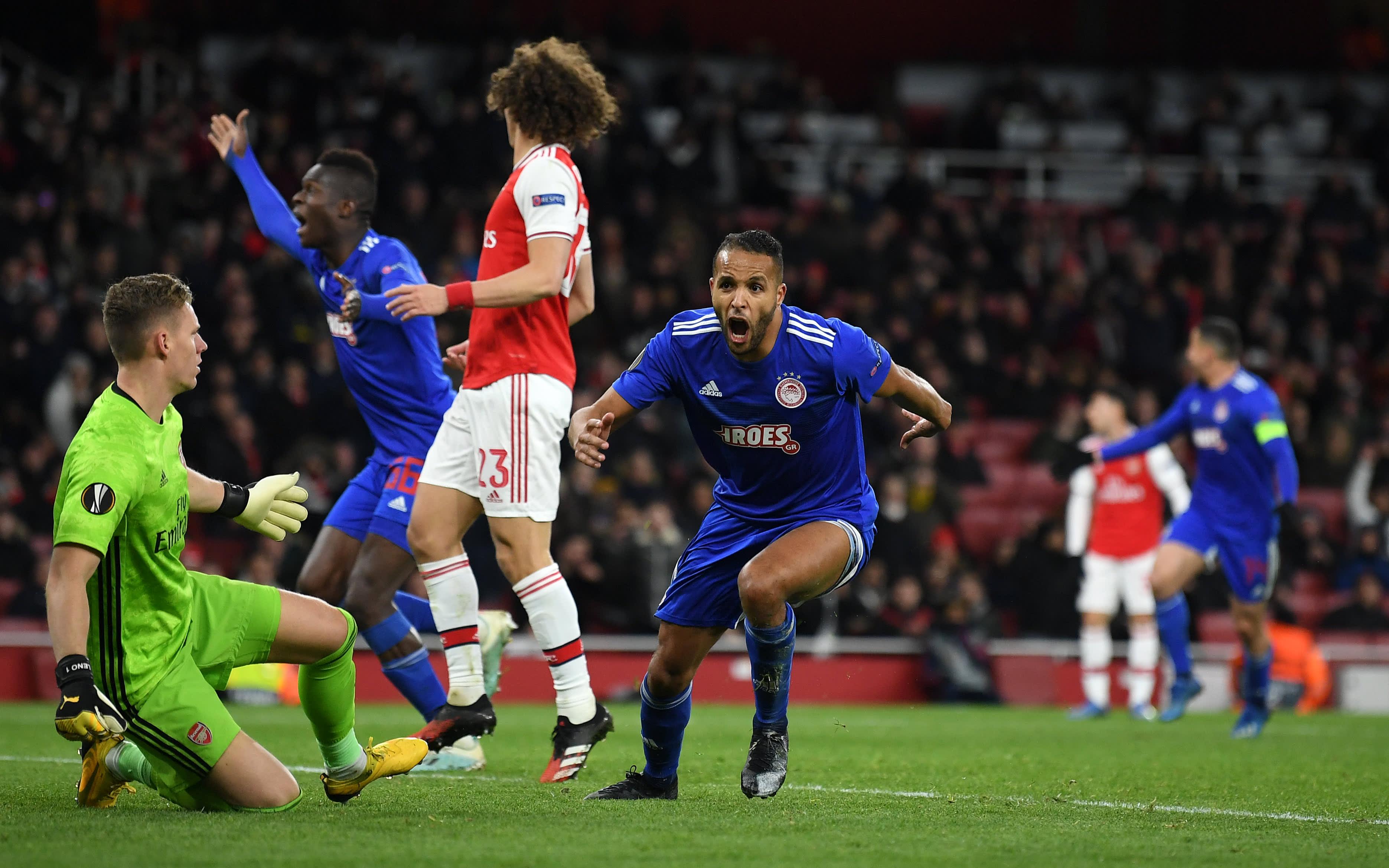 Olympiakosin Youssef El Arabi upottaa Arsenalin Eurooppa-liigasta