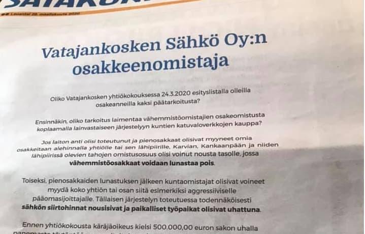 Leppäkosken Sähkön mainos lauantain 28.3.2020 Satakunnan Kansan etusivulla.