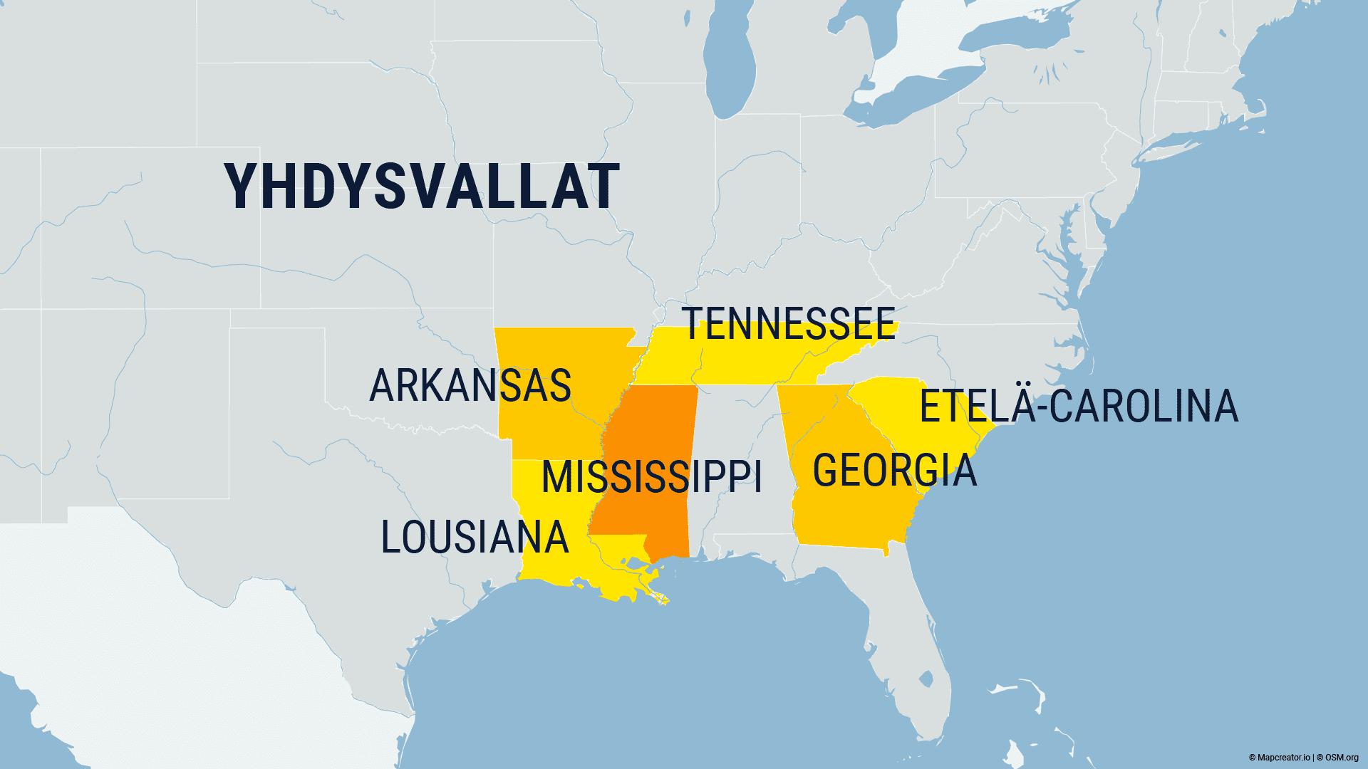 Kartta missä USA:n osavaltioita
