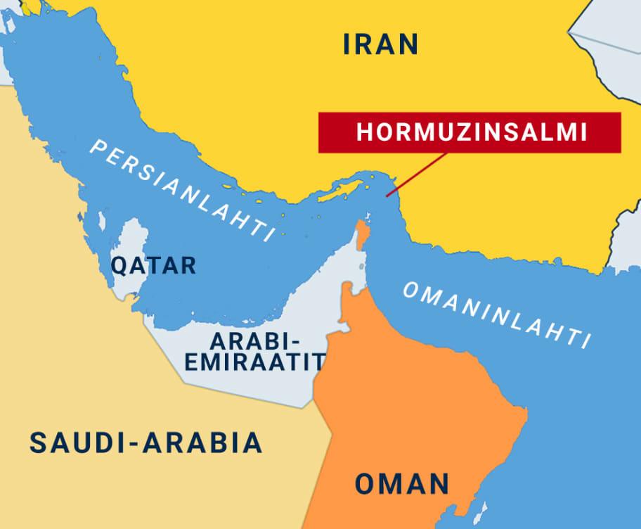 kartta jossa hormuzinsalmi