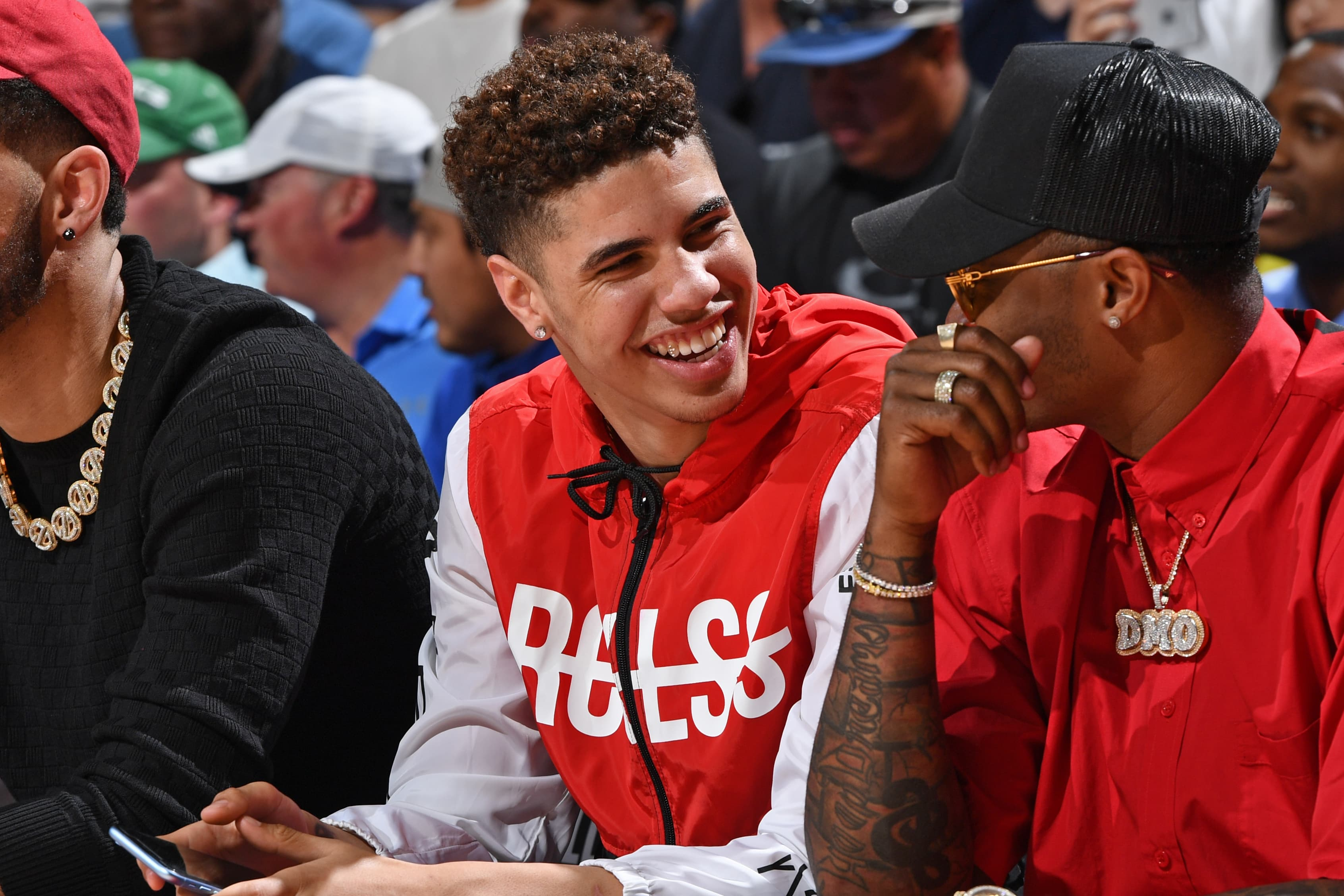 Las Vegas, NV - JULY 5: LaMelo Ball smiles during the game between the New York Knicks and the New Orleans Pelicans during Day 1 of the 2019 Las Vegas Summer League on July 5, 2019 at the Thomas & Mack Center in Las Vegas, Nevada. NOTE TO USER: User expressly acknowledges and agrees that, by downloading and or using this Photograph, user is consenting to the terms and conditions of the Getty Images License Agreement. Mandatory Copyright Notice: Copyright 2019 NBAE (Photo by Garrett Ellwood/NBAE via Getty Images)