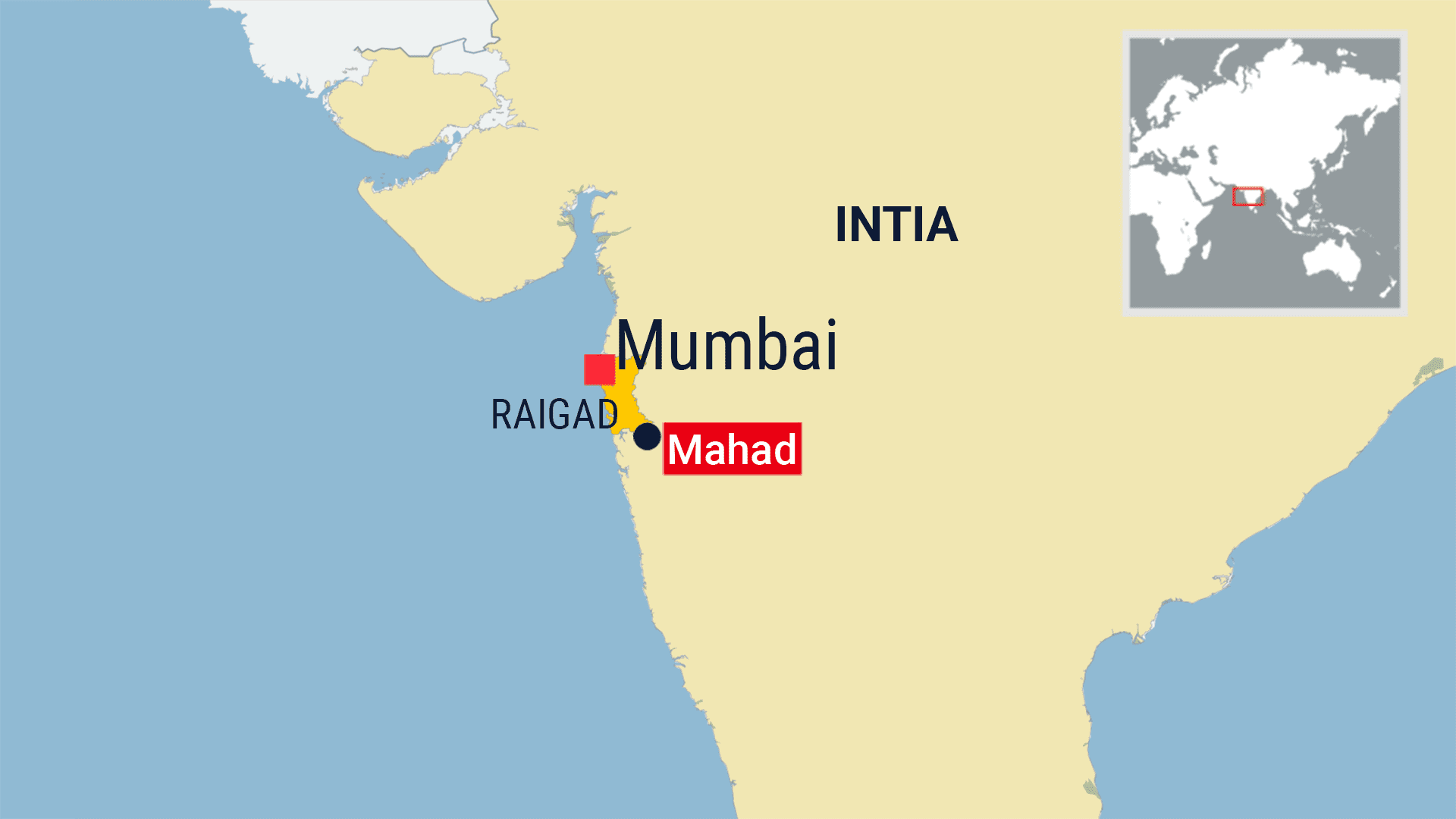 Kartta Intia, Mumbai, Mahad-kaupunki