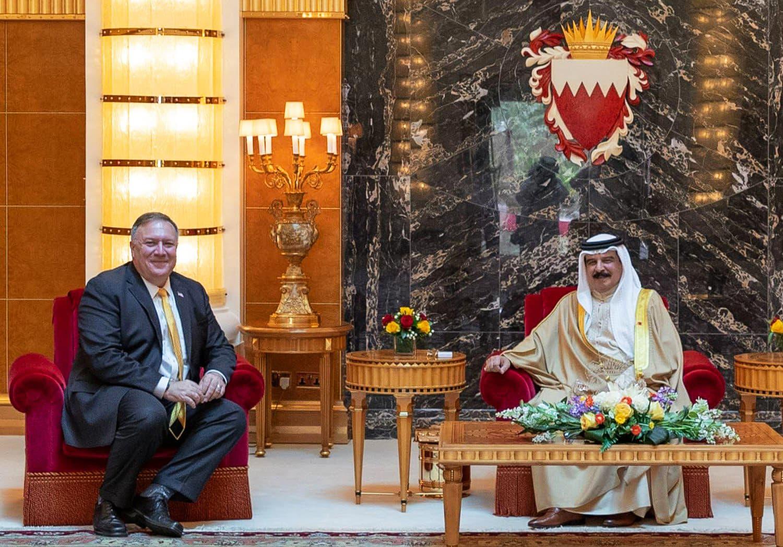 Yhdysvaltain ulkoministeri Mike Pompeo tapasi Bahrainin kuninkaan  Hamad bin Isa Al Khalifan elokuussa.
