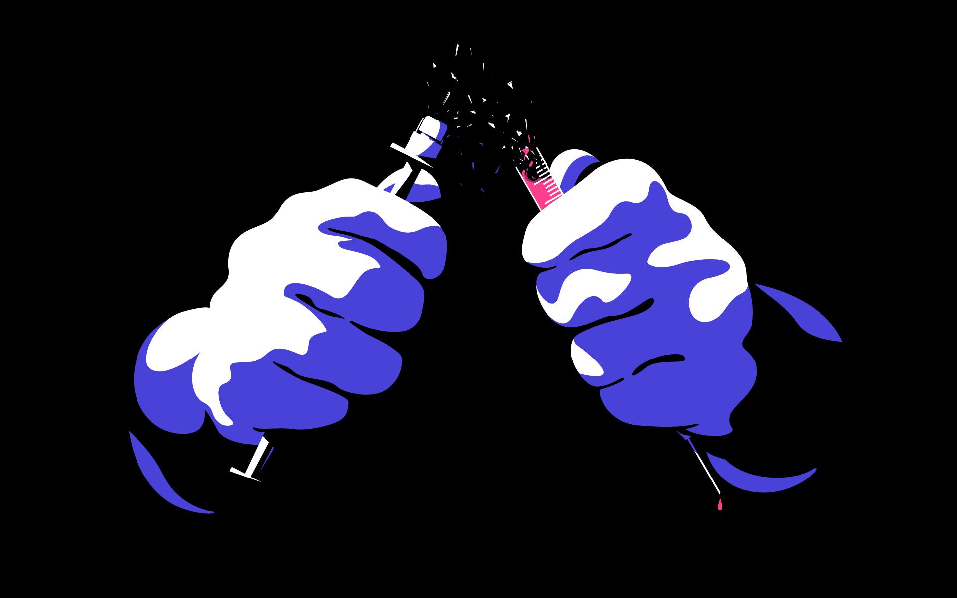 Graafisesti toteutettu kuvituskuva, jossa nyrkkiin puristuneet kädet taittavat rokotuspiikin kahtia kuin lyijykynän. Sirpaleita lentää ilmaan.