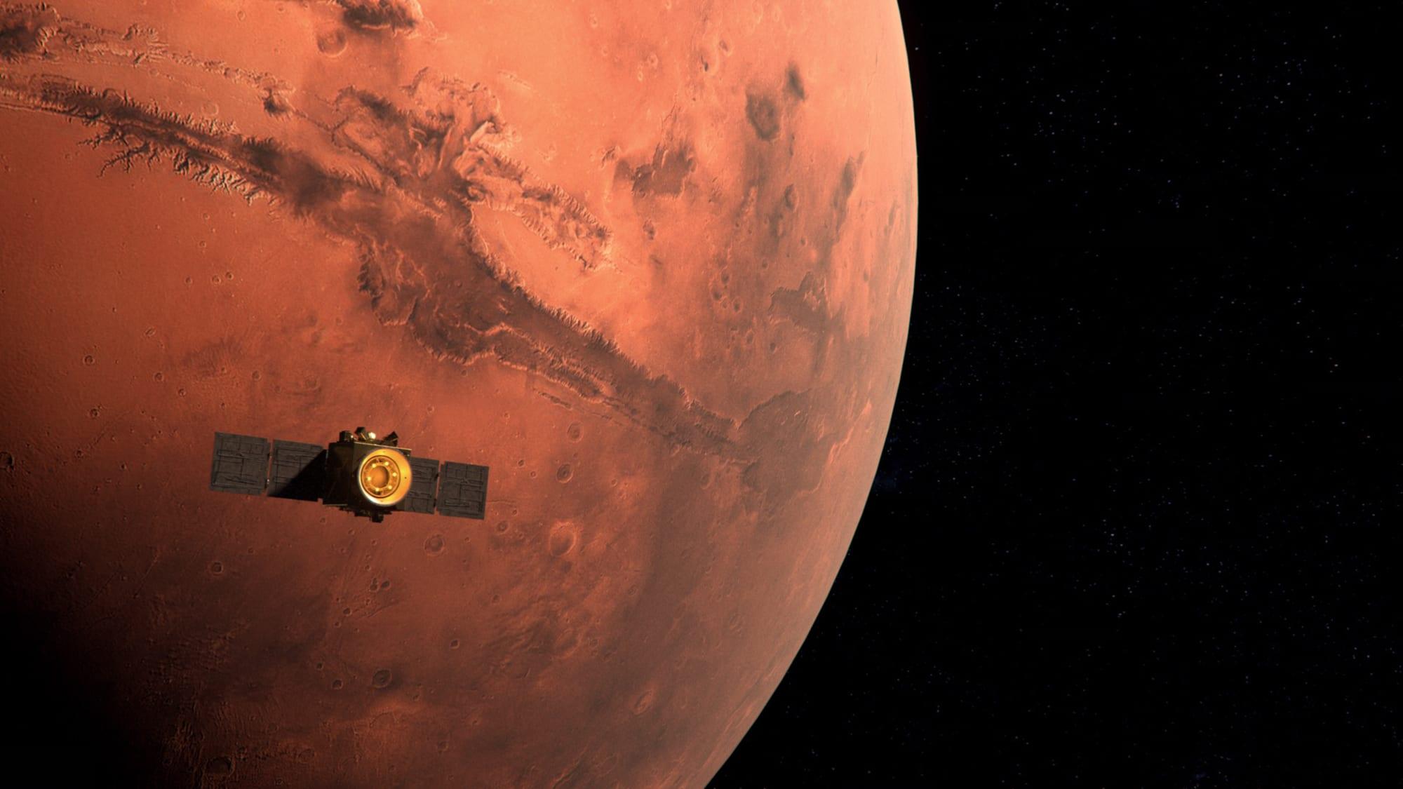 Kuvituskuva Toivo-luotaimen saapumisesta Marsin kiertoradalle.