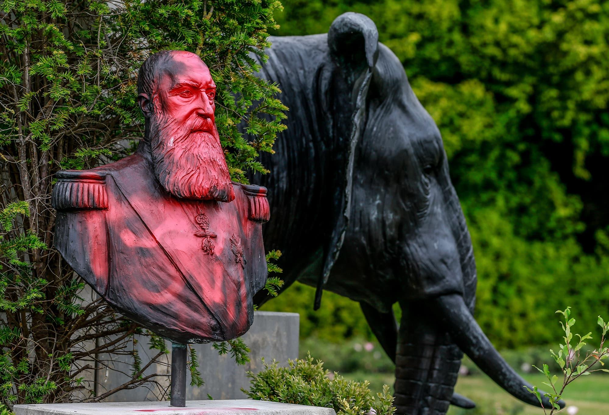 Kongoa 1800-luvulla hallinneen Belgian kuninkaan Leopoldin patsas töhrittynä Tervurenissä Belgiassa.
