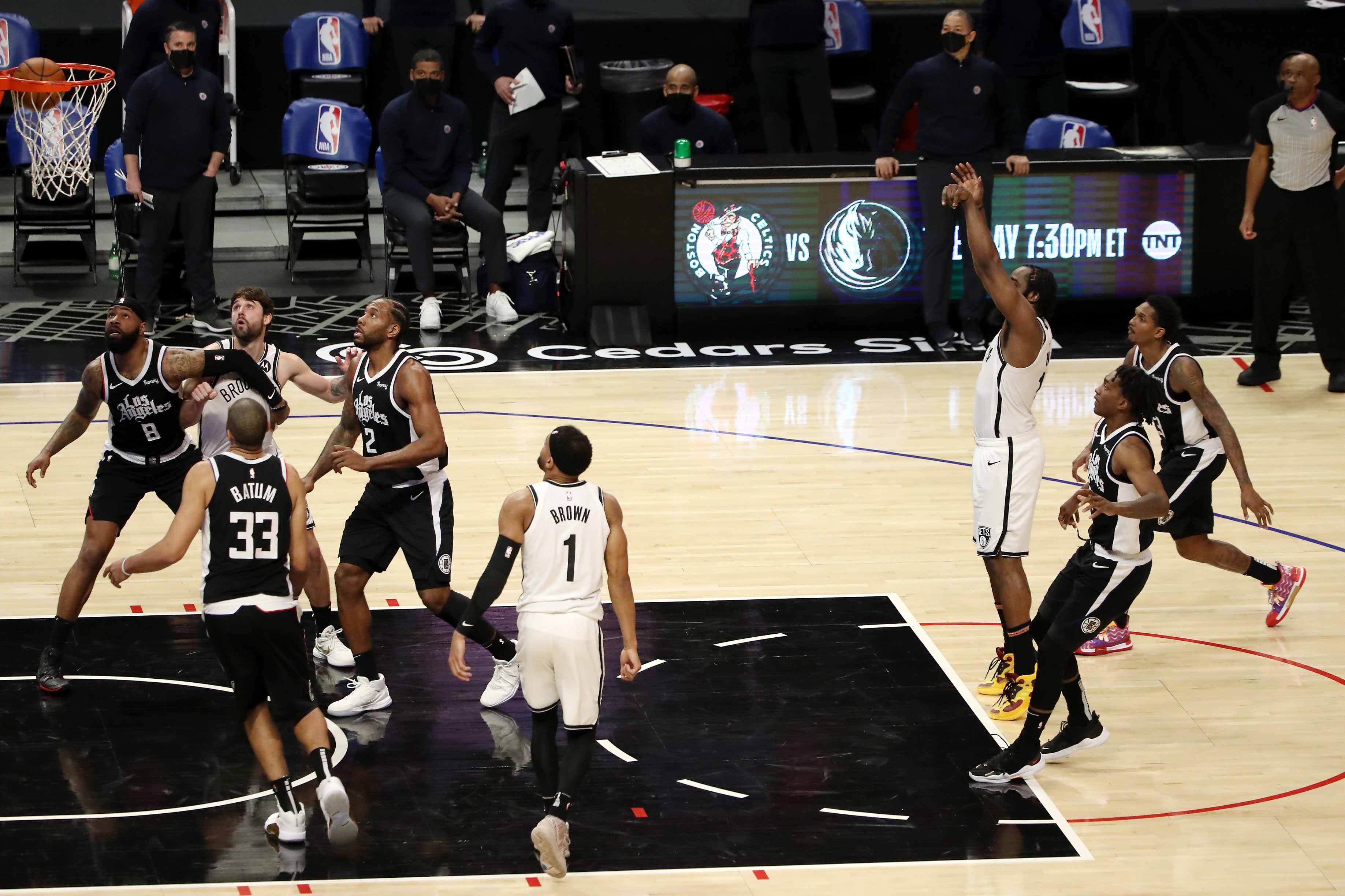 James Harden #13 of the Brooklyn Nets makes a free throw shot