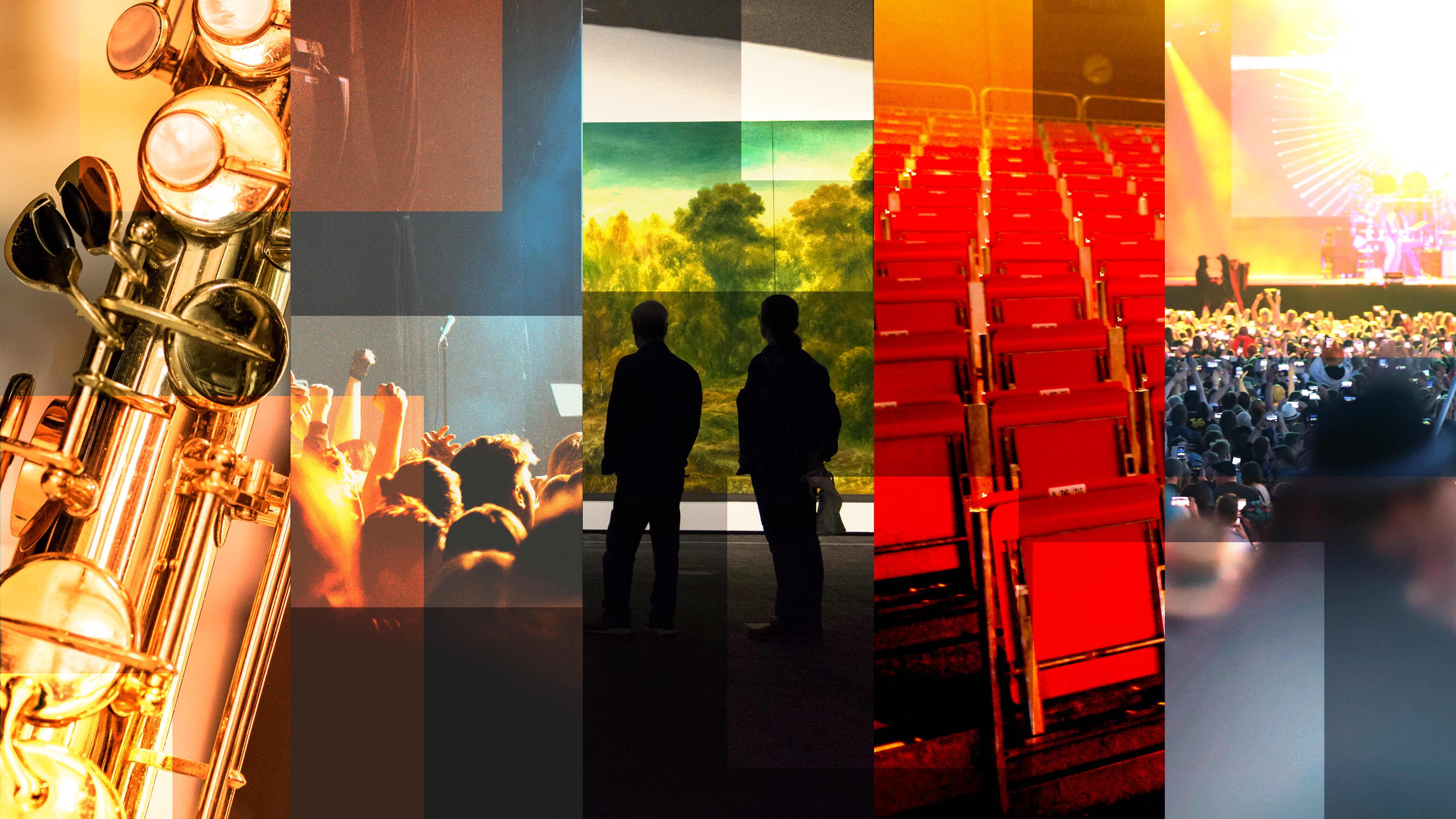 Kuntien kulttuurirahoitus, kuvakollaasi eri kulttuuritapahtumista. Taidenäyttelyt, festarit, konsertit, teatteri.