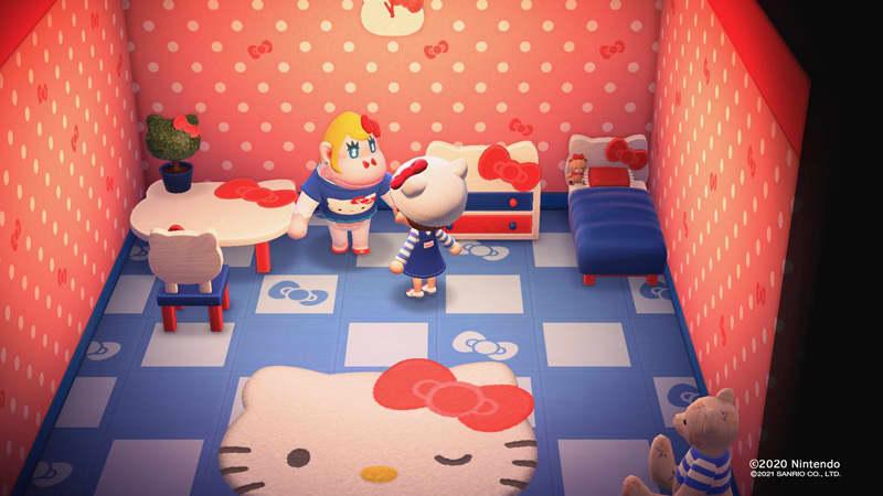 Maksullisella lisäosalla Animal Crossing New Horizons -peliin voi hankkia Hello Kitty -tuotteita.