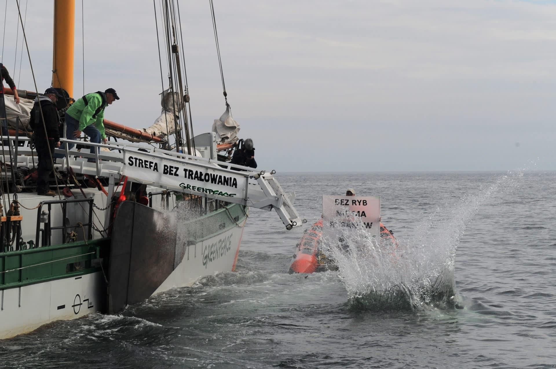 Greenpeacen aktivistit pudottelevat mereen kivenlohkareita