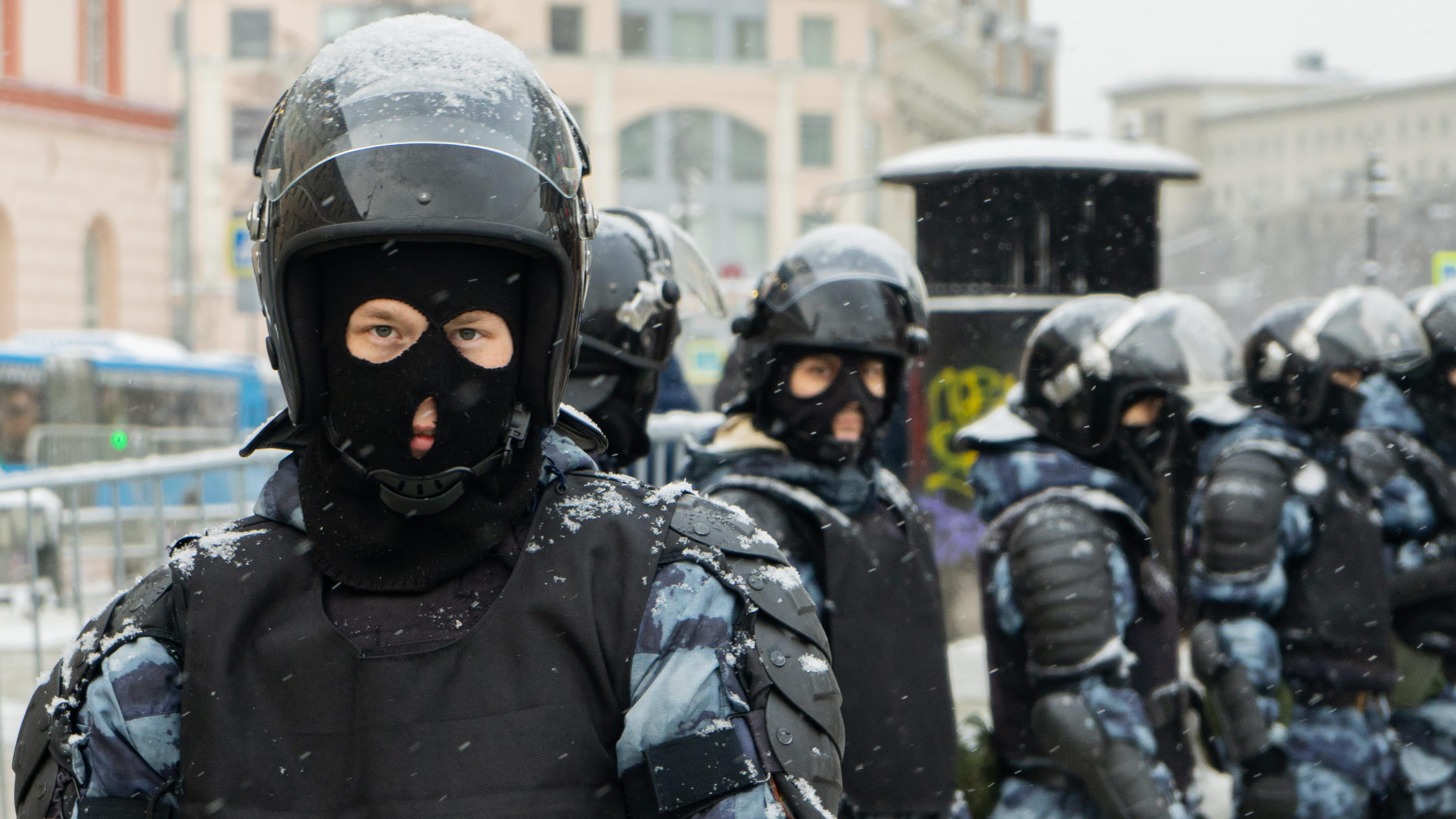Mellakkapoliiseja Moskovassa