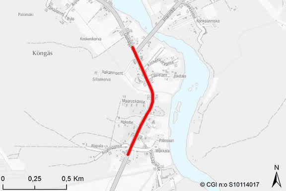 Kittilän Köngäs pyöräily- ja kävelytie kartalla