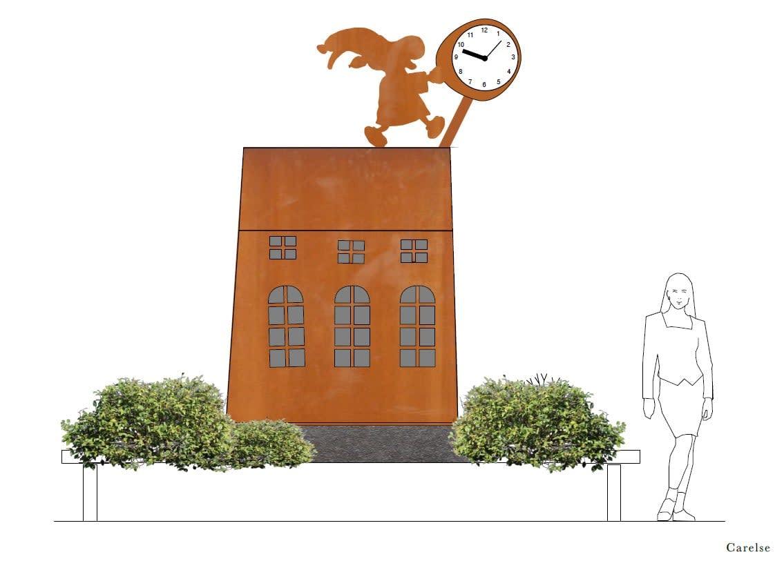 Havainnekuva Sastamalan torille pystytetävästä patsaasta.
