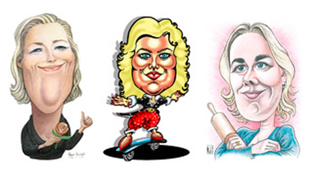 Kuvassa kolme karikatyyripiirrosta Jutta Urpilaisesta