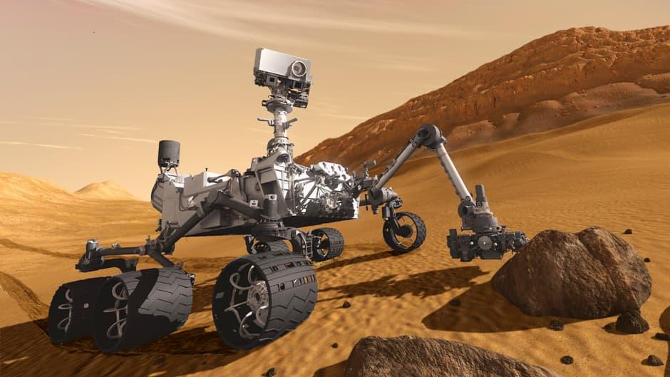 Havainnekuva Curiosity-mönkijästä Marsissa.