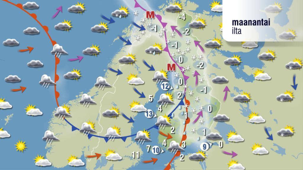 Sääkartta illaksi maanantaina 26. maaliskuuta 2012.