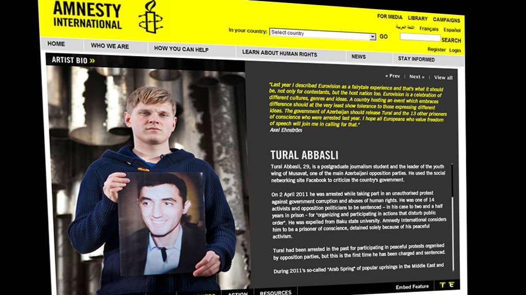 Grafiikka Amnestyn nettisivustosta.