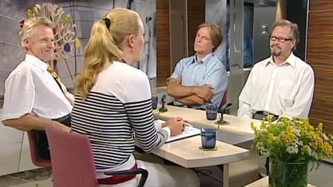 Uudet kansanedustajat Pietari Jääskeläinen (ps.), Timo Juurikkala (vihr.) ja Raimo Piirainen (sd.) Aamu-TV:n vieraina. Annika Damström jututtaa uusia edustajia.