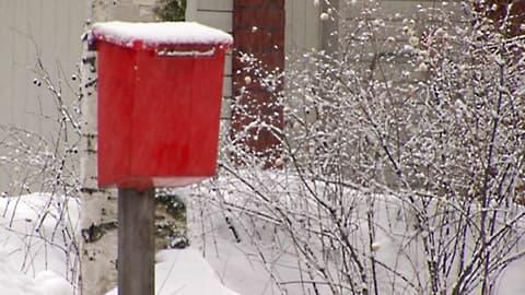 Lumen peittämä postilaatikko