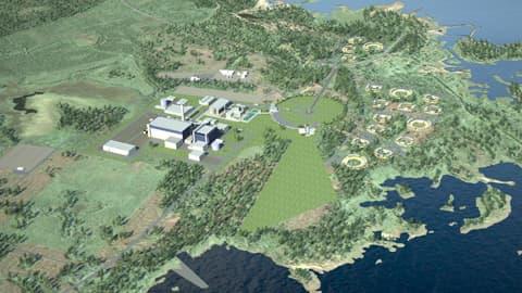 Havainnekuva Fennovoiman suunnittelemasta ydinvoimalasta Simon Karsikkoon.