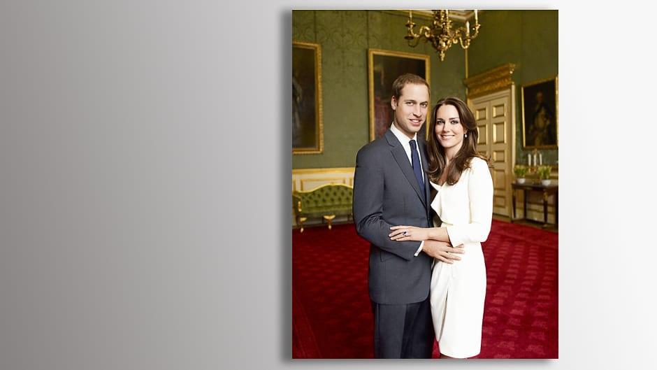 Prinssi Williamin ja Catherine Middletonin virallinen kihlajaiskuva.