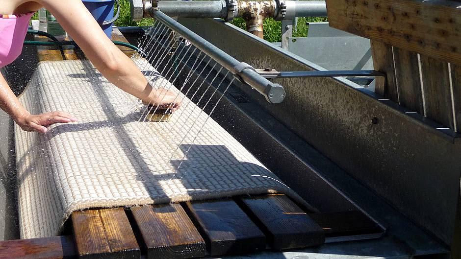 Nainen pesee juurharjalla mattoja matonpesupaikalla ulkona.